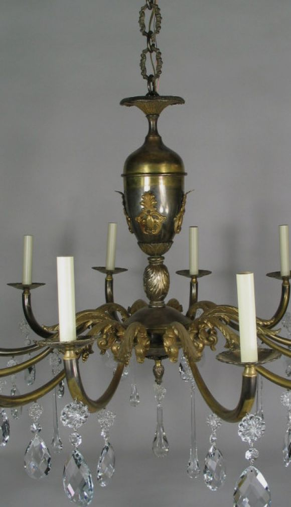 ON SALE Oversized  Italian, Two-Tone Crystal and Bronze Chandelier 3