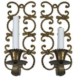Pair scrolled iron sconces