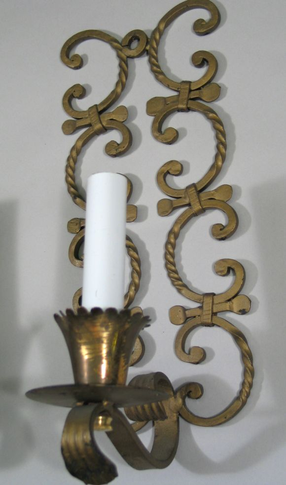 Metal Scroll Wall Sconces : Pair scrolled iron sconces at 1stdibs