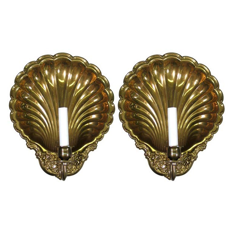 Brass Shell Wall Lights : Pair of Large Brass Shell Candle Sconce at 1stdibs