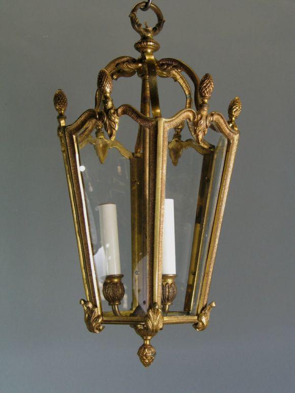 Bronze Lantern, circa 1940s In Good Condition For Sale In Douglas Manor, NY