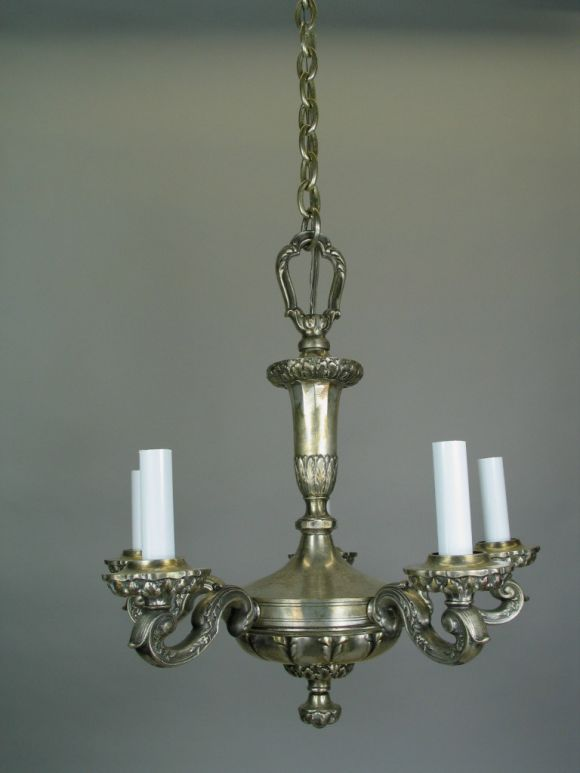 Italian On Sale Silver Plated Bronze Chandelier, circa 1920s For Sale