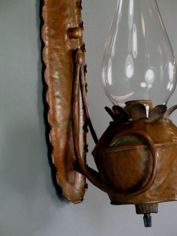Handmade Copper Wall Sconces : Pair 1930 s hand made French copper scones at 1stdibs