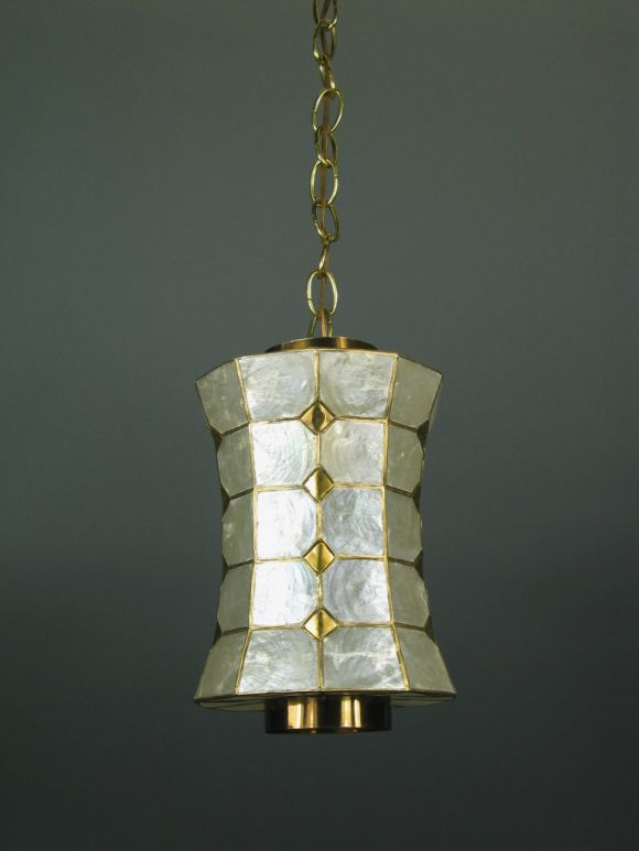 Capiz shell pendant 3 available at 1stdibs for Shell ceiling light fixtures