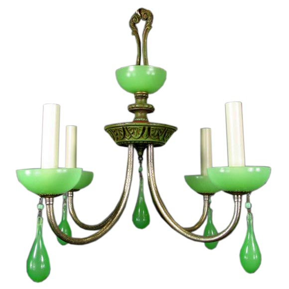 Circa 1930's green opaline glass chandelier at 1stdibs