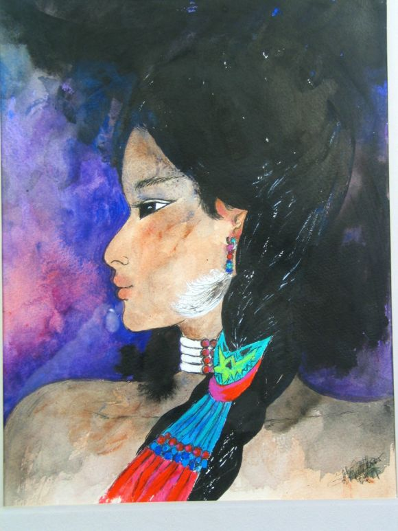 #5-466, original mixed-media watercolor, ink on paper depicting a Native American girl. Illegible signature. Image size 13 x 10 inches.