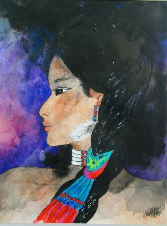 Native American Girl Painting In Good Condition For Sale In Douglas Manor, NY
