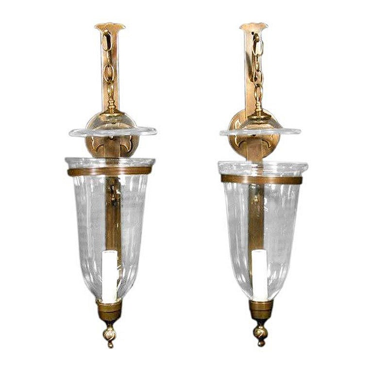 Hurricane Wall Sconces Lamps : Large Pair Hurricane Sconces at 1stdibs