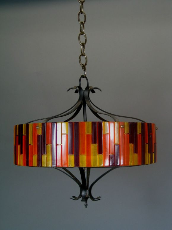 #1-1302 colorful fixture made from different colored acrylic pieces with black iron frame and frosted glass diffuser, (one-piece available.)