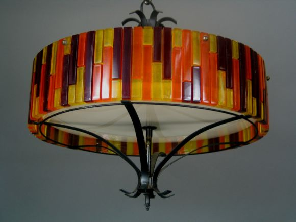 Mid Century  Mod Fixture, In Good Condition For Sale In Douglas Manor, NY