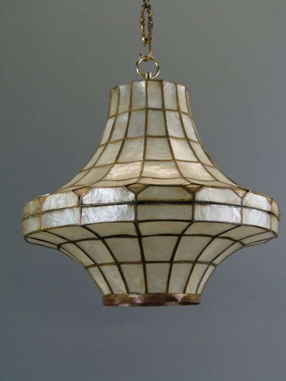Large Mid Century  Capiz Shell Pendant, s(2 available) In Good Condition For Sale In Douglas Manor, NY