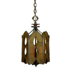 Circa 1920's Stained Glass Lantern