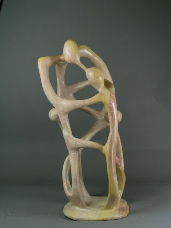#9-05 Abstract figural hand-carved stone abstract sculpture.