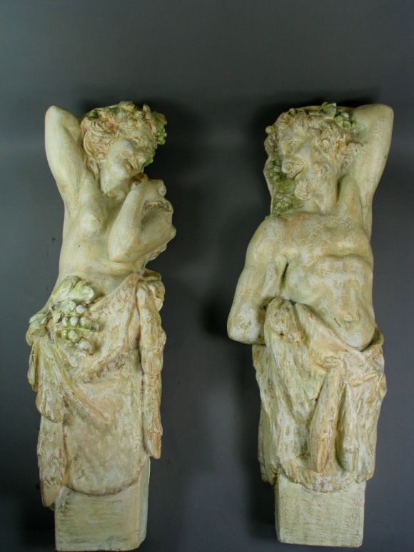 #9-020  Pair neoclassical wall figures wall bracket.