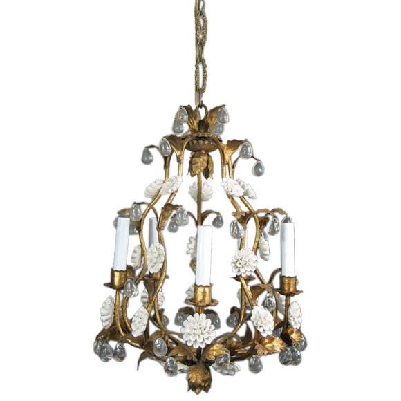 Circa 1950's Italian Giltmetal and Porcelain chandelier