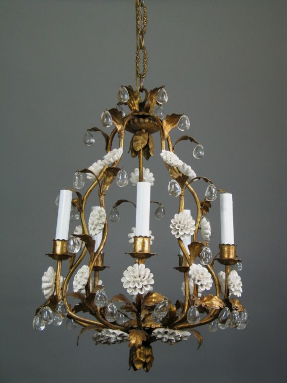 #1-1393  A five lite gilt metal chandelier with porcelain flowers and drop crystal.