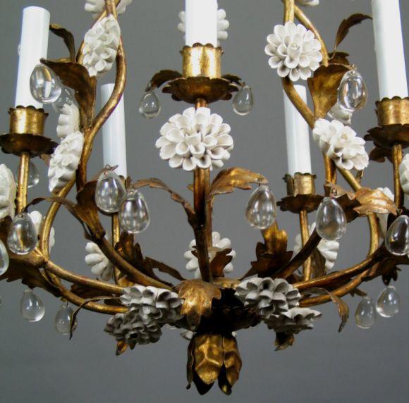 Mid-20th Century Circa 1950's Italian Giltmetal and Porcelain chandelier