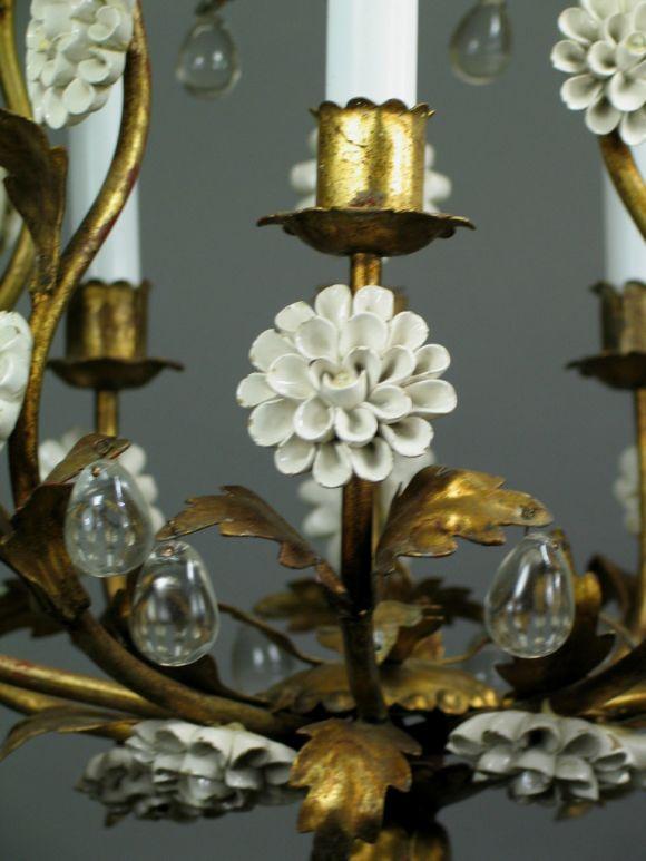 Circa 1950's Italian Giltmetal and Porcelain chandelier 1