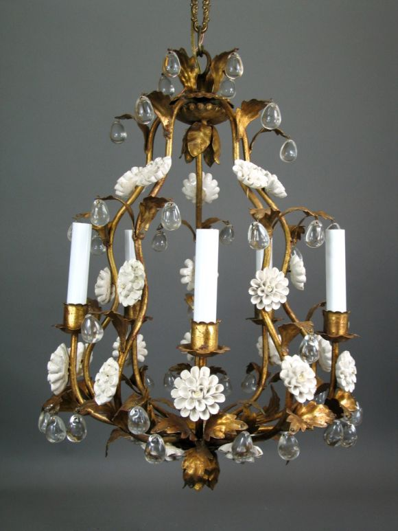Circa 1950's Italian Giltmetal and Porcelain chandelier In Excellent Condition In Douglas Manor, NY