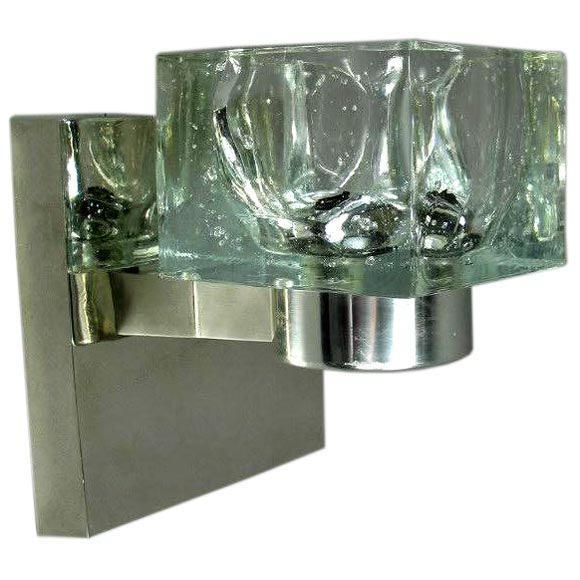 Handmade Glass Wall Sconces : Pair Hand Made Glass Cube Sconces (Two pair available) at 1stdibs