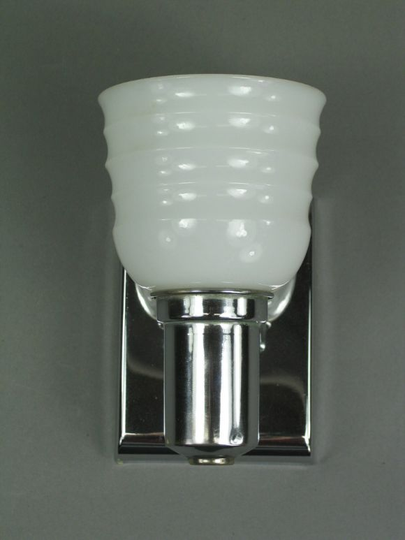 Pair Chrome and Milk Glass Sconces at 1stdibs