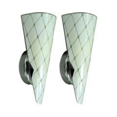 Pair Murano  Mid  Century  Glass Sconces