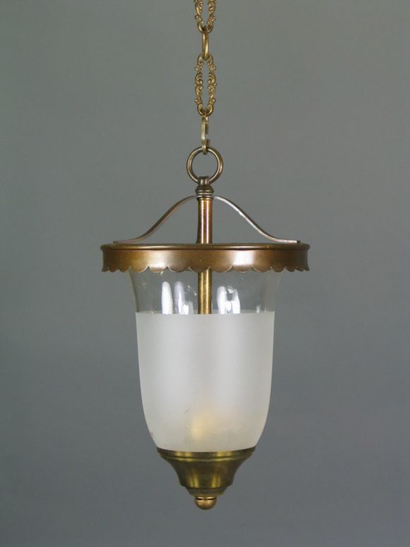 #1-2021, scalloped brass rim supports clear and frosted bell jar with three internal lights.