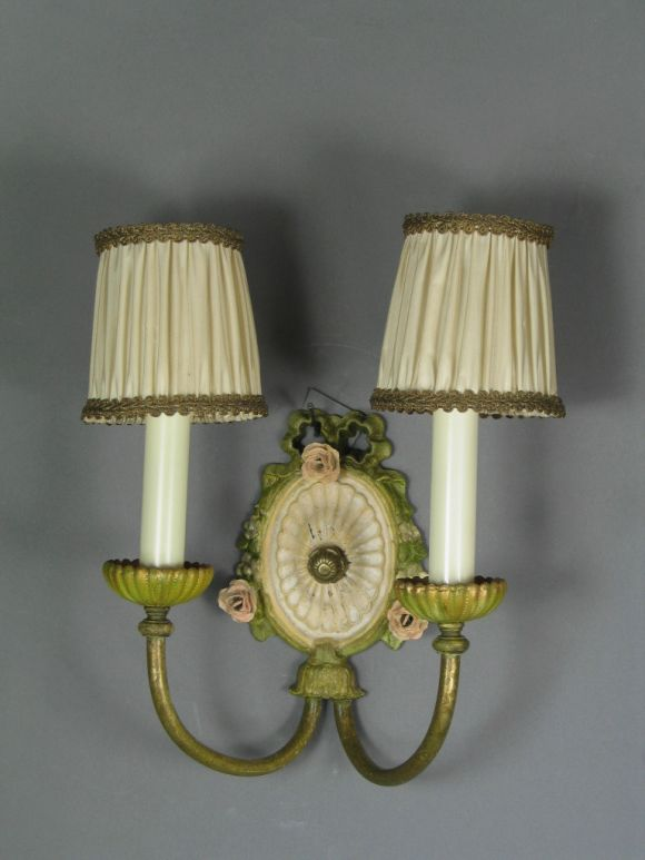 Painting Brass Wall Sconces : Circa 1920 s Pair painted brass and porclain sconces at 1stdibs