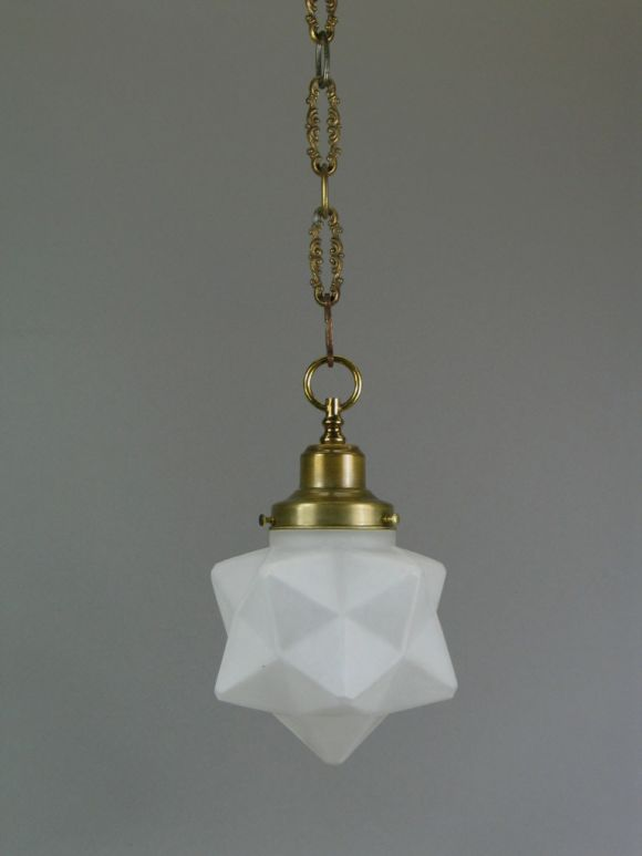 Circa 1920's Deco Frosted Glass Star(3available) 2