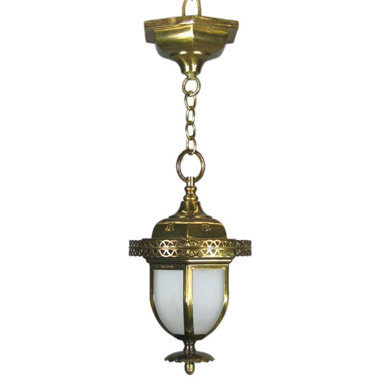 Frosted Glass Pendant Lantern Flushmount At 1stdibs