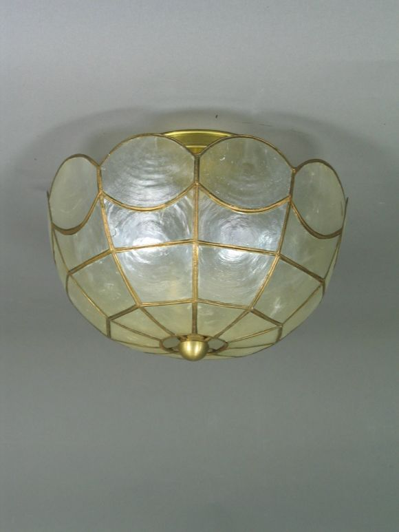Scalloped capiz shell flushmount at 1stdibs for Shell ceiling light fixtures