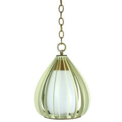 Mid Century Ribbed Metal and Frosted Glass Pendant(2available)