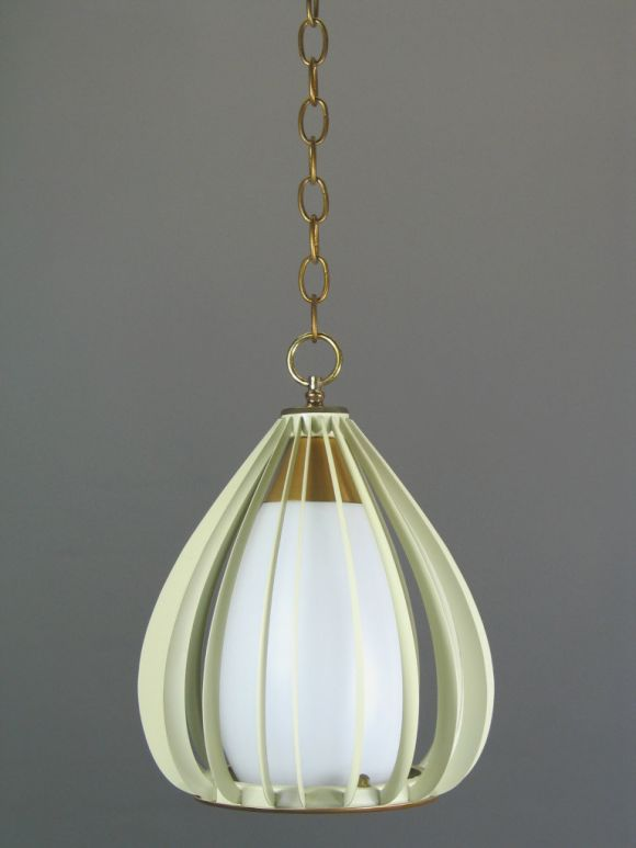 German Mid Century Ribbed Metal and Frosted Glass Pendant(2available) For Sale