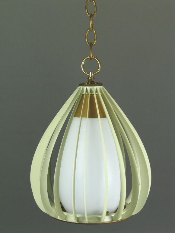 Mid Century Ribbed Metal and Frosted Glass Pendant(2available) In Good Condition For Sale In Douglas Manor, NY