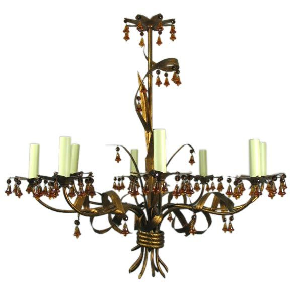 ON SALE Murano Chandelier with Amber Glass Bells