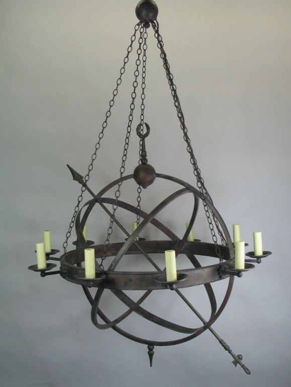 Large armillary chandelier at 1stdibs 1 1532 10 lite armillary chandelier mozeypictures Images