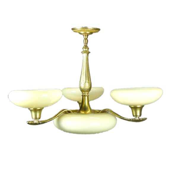 ON SALE Deco Custard Glass Chandelier For Sale