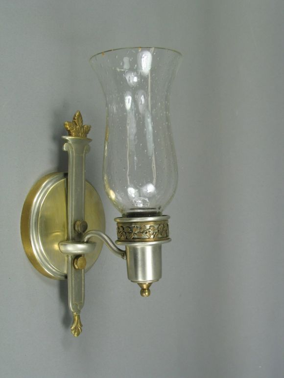 Brass Hurricane Wall Sconces : Pair Brushed Nickel and Brass Hurricane Sconces at 1stdibs