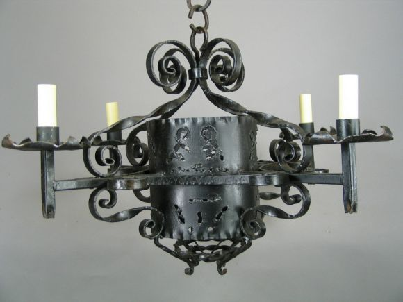 20th Century 1920s Handmade Wrought Iron Chandelier For Sale