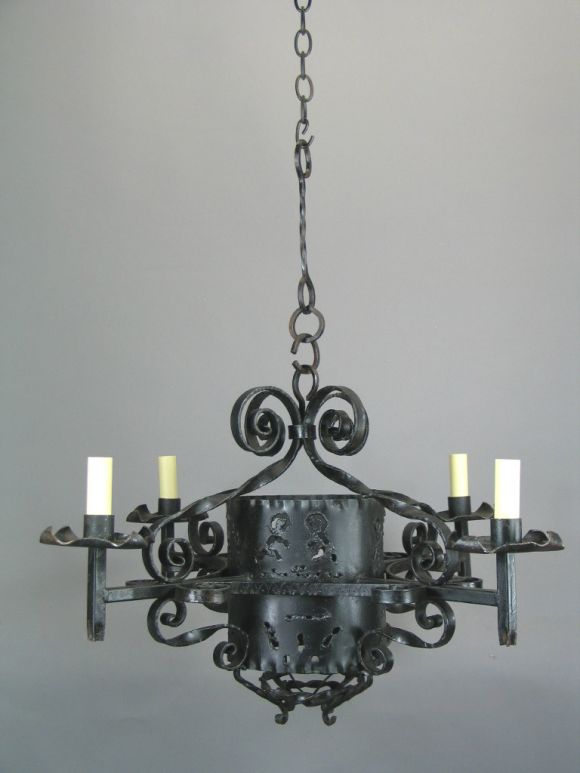 1920s handmade wrought iron chandelier for sale at 1stdibs for Unique chandeliers for sale