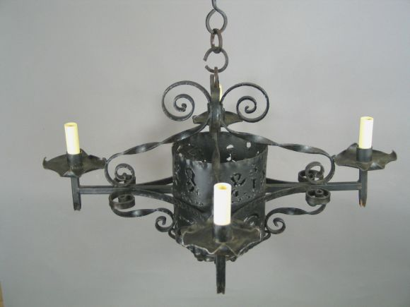 1920s Handmade Wrought Iron Chandelier In Good Condition For Sale In Douglas Manor, NY