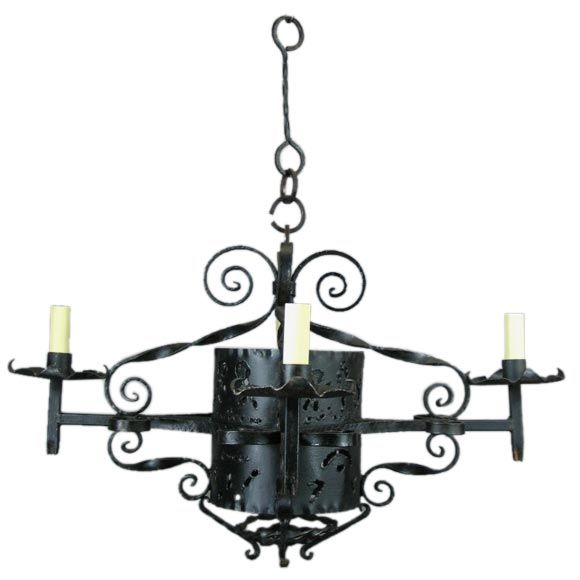 1920s Handmade Wrought Iron Chandelier For Sale