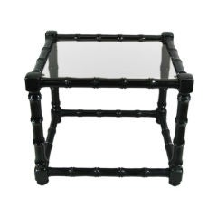 Black Lacquered Faux Bamboo End Table