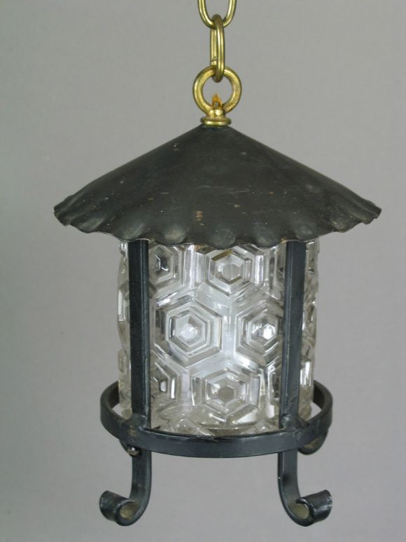 20th Century Arts and Craft Lantern with Embossed Glass Shade, 1920s For Sale