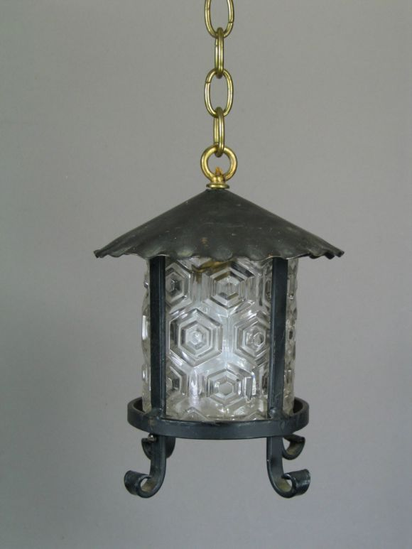 #1-1997, handmade lantern with embossed glass shade.