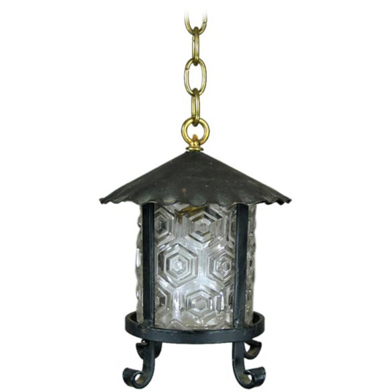 Arts and Craft Lantern with Embossed Glass Shade, 1920s For Sale