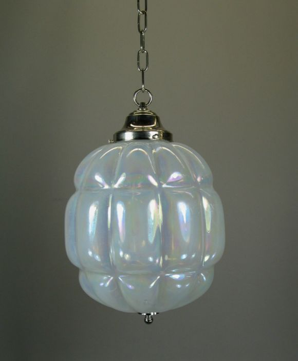 Opaline glass pendant. Hardware can be made available in brass.