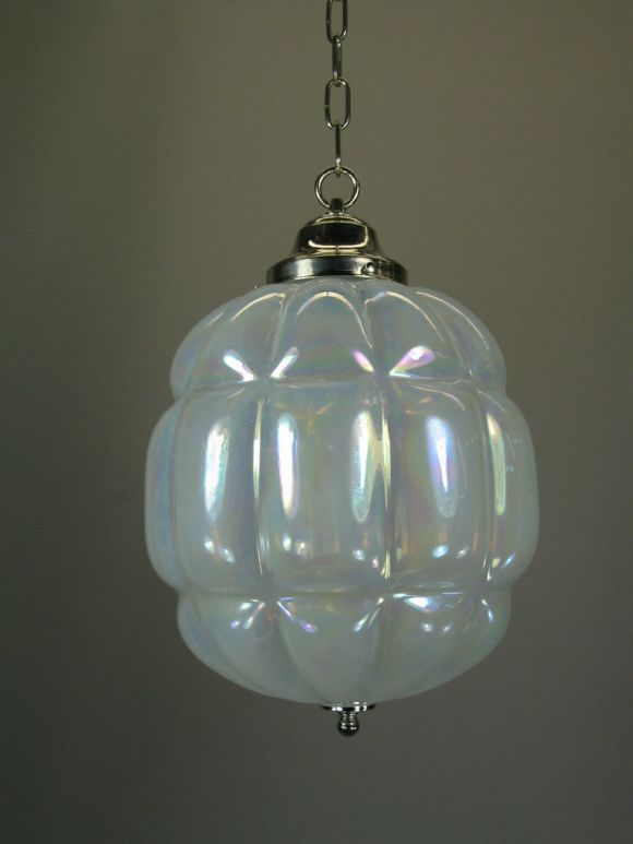 Italian Large Mid Century Opaline Glass Pendant For Sale