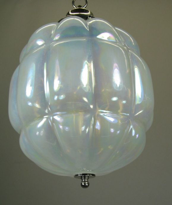 Large Mid Century Opaline Glass Pendant In Good Condition For Sale In Douglas Manor, NY