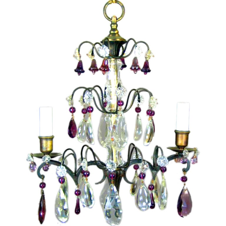 French Amethyst Crystal Chandelier For Sale